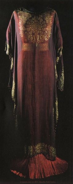 Delphos by Fortuny, pleated silk dress with stenciled waistband and diaphanous over tunic
