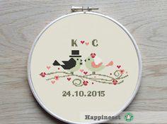 Modern Wedding cross stitch pattern, wedding birds, customizable, PDF, DIY ** instant download**