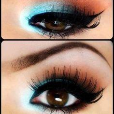 I wish I could wear blue eye shadow...