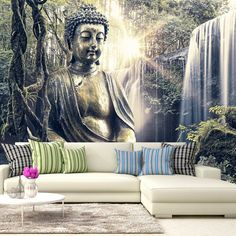 Photo Wallpaper Wall Murals Non Woven 3D Modern Art Buddha Wall Decals  Bedroom Decor Home Design Wall Art Decals 217