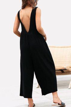 f3e4de32b6 Women Black Sleeveless Pocket V Back Casual Jumpsuit - L Types Of Sleeves