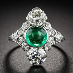 Dreicer & Co. Platinum, Emerald and Diamond Art Deco Ring