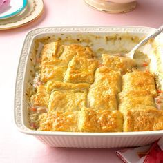 Buttermilk Biscuit Ham Potpie Recipe -As part of my job, I got to help concept a bunch of food trucks, and Biscuit Box was our first. We spent months coming up with recipes. This is an Easter play on our chicken and tarragon potpie. —Michelle Clair, Seattle, Washington