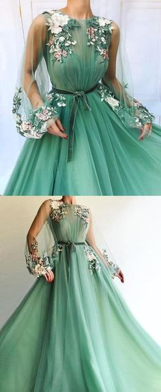 Sexy Long Sleeve Tulle A-Line Prom Dresses Sweetheart Applique Evening dress  cheap hot dress 23932a3133535