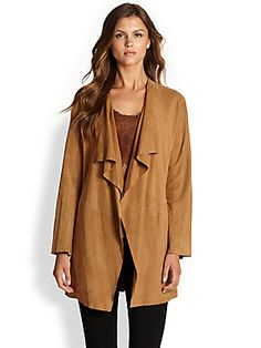 Eileen Fisher Suede Drape-Front Long Jacket