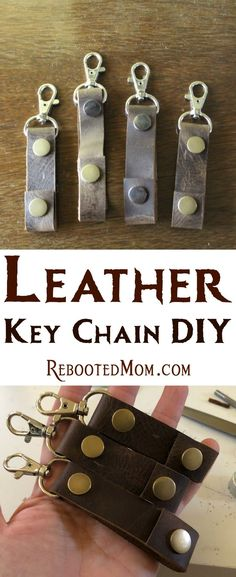 Follow this Leather Key Chain DIY to transform leather scraps into a gorgeous Leather Key Chain that you can gift to family and friends!  #leather #gift #DIY #giftsforhim #giftsforher #handmade Diy Keychain, Leather Keychain, Leather Scraps, Home Made Soap, Leather Working, Homemade Gifts, Key Chain, Teacher Gifts, Gifts For Him