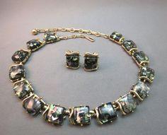VTG Coro Confetti Thermoset Necklace Earrings Set Clip Demi Parue Pegasus Nice! #Coro