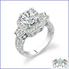 GREGORIO 18K WHITE GOLD DIAMOND ENGAGEMENT RING R-314