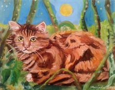 Maine Coon Cat Oil Portrait Painting Cat by PaintingsByMargie Oil Portrait, Maine Coon Cats, Cat Lady, Waiting, Unique Jewelry, Handmade Gifts, Canvas, Cute, Etsy