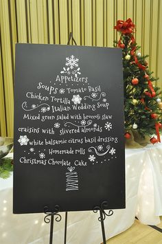 """What if we have a """"theme"""" Christmas Party.  Cute idea for a Holiday party menu board"""