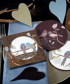 Love Birds Cork Back Coaster Set In Gift Packaging specialtyribbon.com