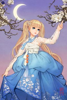 Blonde girl in Blue Hanbok DressDigital drawing, 2014 Pictures for sales are high definition. Blonde girl in Blue Hanbok Dress Manga Girl, Anime Art Girl, Manga Anime, Anime Girls, Korean Art, Asian Art, Korean Drama, Character Art, Character Design