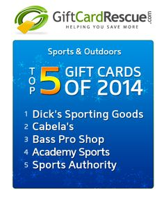 The Top 5 Sports & Outdoors Gift Cards of 2014. #topgiftcards #holidaygiftideas #sports #outdoors