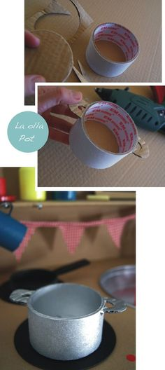 Artesanatos com Rolo de Fita. Recycle empty tape tubes into play kitchen pots! Cardboard Kitchen, Cardboard Crafts, Diy Play Kitchen, Toy Kitchen, Play Kitchens, Projects For Kids, Diy For Kids, Crafts For Kids, Diy Karton
