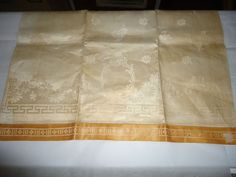 "Vintage NOS Irish Linen Kitchen Towel.  33"" X 18"".  Floral. Hemstitched. Gold #DoesNotApply"