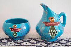 Vintage-Arizona-Kachina-Bird-Turquoise-Pottery-Set-Creamer-Sugar-Bowl-1960s