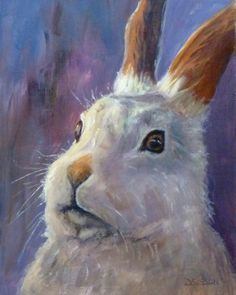 Harvey Rabbit Oil Rabbit Painting Farm Animal Pet Art, painting by artist Debra Sisson