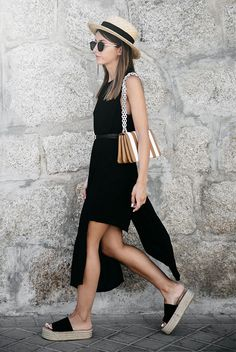 summer outfit, summer layers, all black outfit, casual outfit, night out outfit, beach outfit, summer getaway outfit, summer vacation outfit - straw flat hat, straw boater hat, round sunglasses, sleeveless slit mini dress, black platform espadrille sandals, brown stripe bag