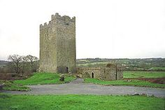 O'Dea Castle is an Irish tower house, loosely described as a castle at Dysert O'Dea, the former O'Dea clan stronghold, 5 km from Corofin, County Clare. It was built between 1470 and 1490 by Diarmaid O'Dea, Lord of Cineal Fearmaic, and stand some 50 feet high on a limestone outcrop base measruing 20 feet by 40 feet.