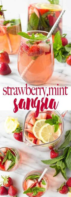 mint drink A light, crisp sangria full of refreshing flavors - strawberries, mint, and lemon meld together for the perfect summer cocktail! Summer Sangria, Summer Drinks, Drinks With Mint, White Sangria, Fruity Drinks, Sangria Recipes, Cocktail Recipes, Drink Recipes, Cocktail Food