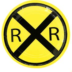 Train theme birthday party dessert plates featuring the very popular yellow railroad crossing sign. These railroad theme party plates are a perfect size to serve your piece of cake or snacks. There are 8 paper plates per package.