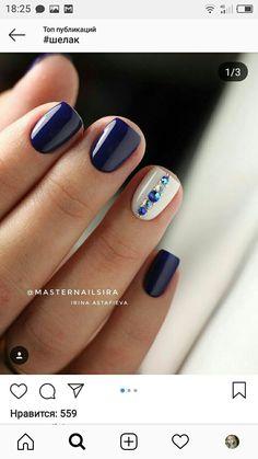 Installation of acrylic or gel nails - My Nails Gem Nails, Diamond Nails, Pink Nails, Hair And Nails, Nail Gems, Navy Blue Nails, Short Nail Designs, Gel Nail Designs, Short Gel Nails