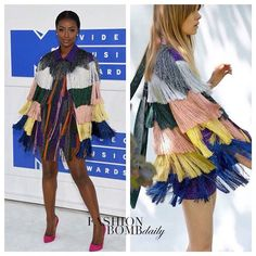 @justineskye had a little fun on the white carpet! She wore a @missoni Resort 2017 Tiered Fringe Dress. Thoughts on her look?  #JustineSkye #Missoni #style #Fashion #instastyle #instafashion #mtv #vmas #vmas2016 #fashionbombdaily