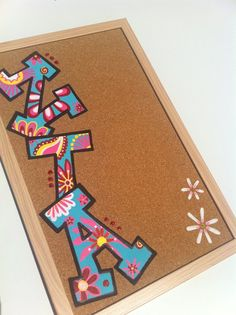 Hand-painted Greek ZTA Sorority Cork Board- Or for a kid's room do their Name or for a Kitchen do your last name!