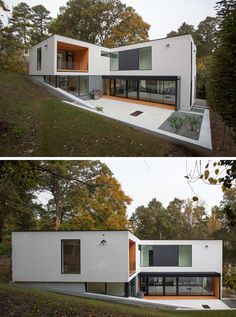 This L-shaped home has been designed to connect the living areas of the home with the outdoor areas, increasing the usable living space of the home.