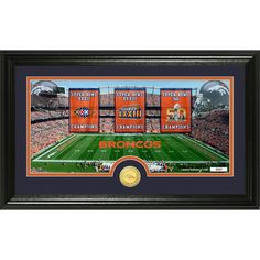 Denver Broncos Super Bowl Traditions Bronze Coin Panoramic Photo Mint