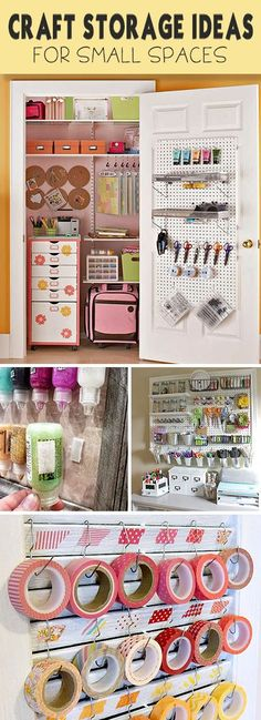 Organizing Tips Craft Storage Ideas for Small Spaces Ideas, projects and tutorials!Craft Storage Ideas for Small Spaces Ideas, projects and tutorials! Organisation Hacks, Craft Organization, Organizing Tips, Organising, Craft Storage Ideas For Small Spaces, Craft Room Storage, Craft Rooms, Bedroom Storage, Tape Storage