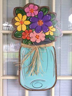 Spring door hanger Mason jar door hanger front by samthecrafter