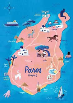 Illustrated map of the island of Paros in Greek Cyclades Greece Map, Paros Greece, Greece Travel, Santorini Travel, Travel Maps, Places To Travel, Travel Destinations, Greece Destinations, Island Map