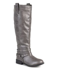 15% off - Tall Leather Riding Boots - Knee High Grey Leather Boots ...