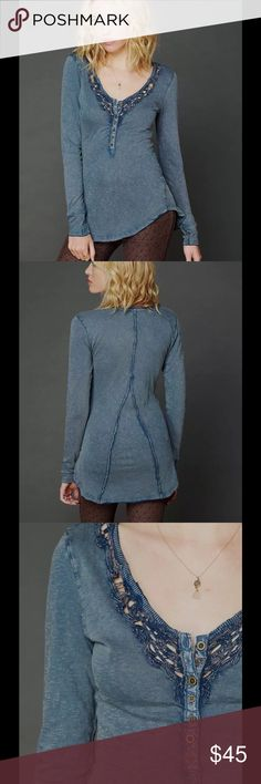 """FREE PEOPLE LOU LEGACY BLUE DISTRESSED HENLEY TOP FREE PEOPLE (WE THE FREE) LOU LEGACY LONG SLEEVE HENLEY TOP    SIZE S  DISTRESSED BLUE  CROCHET TRIM  RAW EDGES  BUST: 32""""  SLEEVE: 26""""  LENGTH: 24.5""""-29"""" (SLIGHT HIGH-LOW STYLE) Free People Tops Tees - Long Sleeve"""