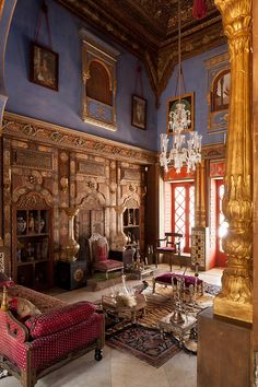 """The latest """"Folly"""" by Jacques Garcia, French Interior Decorator... at Château du Chamlp-de-Bataille, in Normandy, France... on the grounds of the superb château... an Indian Palace rose from nowhere... and it is amazingly beautiful ! !"""