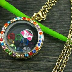 Gold Round Floating Memory Locket New ***Charms not included*** Fashion Jewelry by HT Jewelry Necklaces
