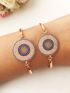 Evil eye bracelet, zirconia rose gold bracelet, zirconia beads, evil eye charm bracelet, stainless s Rose Gold Jewelry, Beaded Jewelry, Beaded Bracelets, Evil Eye Jewelry, Evil Eye Bracelet, Blue Charm, Evil Eye Charm, Plastic Jewelry, Bead Earrings