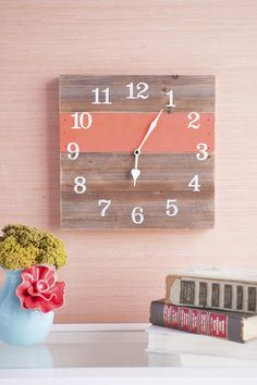 Big Ben Wooden Medium Wall Clock in Coral