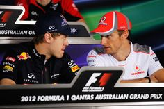 Jenson Button and Sebastian Vettel Photos - (left to right) Sebastian Vettel of Germany and Red Bull Racing and Jenson Button of Great Britain and McLaren attend the drivers press conference during previews to the Australian Formula One Grand Prix at the Albert Park circuit on March 15, 2012 in Melbourne, Australia. - Australian F1 Grand Prix - Previews
