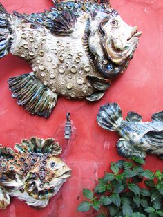 Sculptures in clay stoneware by Sylvain and Tara Bongard, studio in Ferragudo, Algarve. Fish Sculpture, Sculptures, Stoneware, Clay, Ceramics, Studio, Gallery, Ceramic Art, Clay Crafts