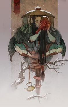 """Yōkai are a class of supernatural monsters, spirits and demons in Japanese folklore. The word yōkai is made up of the kanji for """"bewitching; Arte Game Of Thrones, Arte Dark Souls, Japanese Tattoo Art, Japanese Artwork, Japanese Prints, Japon Illustration, Japan Art, Character Design Inspiration, Anime Comics"""