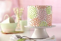 Polka-Dotted Flower Cake Recipe from @Wilton Cake Decorating --- Great for Mother's Day Brunch or a Spring Birthday!