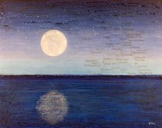"Daily Painters Abstract Gallery: Contemporary Map Art, Florida Map ""FULL MOON OVER FLORIDA"" by Contemporary Artist Brian Billow"