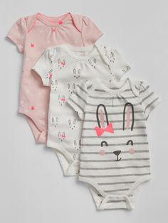 Gap Baby Cuddle & Play Bodysuit (3-Pack) - New Off White 3-6 M