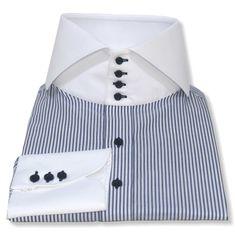 Italian-Blue Stripes High Collar - John Clothier Italian Blue Stripes | I Open Collar Shirt, High Collar Shirts, Red Gingham, Gingham Check, Plain White Shirt, Cotton Shirts For Men, Savile Row, Blue Check, Collar Styles