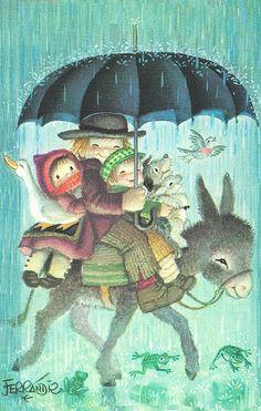 "Vintage Illustration ""Riding Through the Rain"" by Juan Ferrandiz Umbrella Art, Under My Umbrella, Walking In The Rain, Singing In The Rain, Vintage Christmas Cards, Vintage Cards, Holly Hobbie, Children's Book Illustration, Whimsical Art"