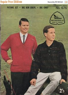 ON SALE Vintage 1960s - Knits for Men Vintage Knitting  Book No 676 in Big Ben Crepe, Big Chief, Jet, Jumpers, Sweaters, Cardigans, Jackets