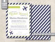 travel themed bridal shower invitations diy | visit etsy com