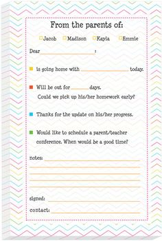 Back To School Excuse Note For School Printables Super Cute